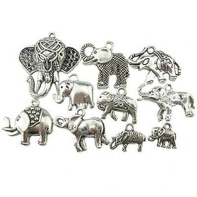 10pcs Mixed Elephant Antique Silver Charms Pendants DIY Jewelry Findings Parts