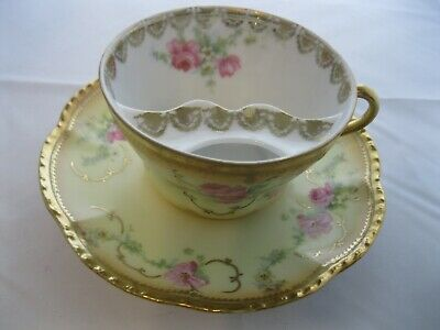Mustache Tea Cup & Saucer Imperial Austria 1883-1914 Rare Yellow Pink Gold