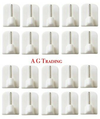20 X Stick On Curtain Wire Hooks UPVC Frame Self Adhesive Net Rail Rod Pin White