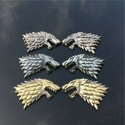 Game of Thrones House Stark Wolf head badge sticker family emblem metal GOT