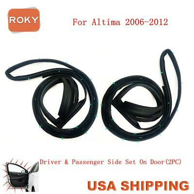 2PC Front Door Opening Weatherstrip Seal Rubber for ALTIMA 2006-2012