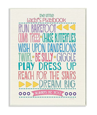 The Kids Room by Stupell Typography Art Wall Plaque, The Little Lady's Playbook,