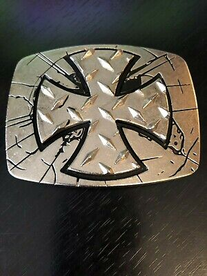 Unique Cross Belt Buckle by Chrome Numbered Silver Tone and Black Dimensional