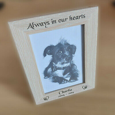 Laser Engraved Personalised Wooden Photo Frame Pet Memorial Loss Gift Keepsake