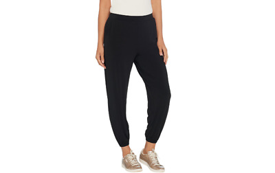 Lisa Rinna Collection Knit Cropped Jogger Pants Black Size XS A341719