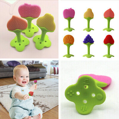 2pcs Baby Teether Teething Chew Toys Silicone Fruits Toothbrush Dental Care Gift