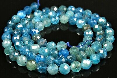 "Natural Blue Apatite Faceted Small Round Bead - 5mm - 15.5"" Strand  - 7138A"