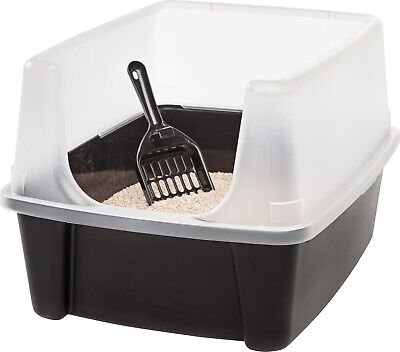Cat Litter Box Pan Kitty Pet with Shield and Scoop IRIS Open Top Plastic Black
