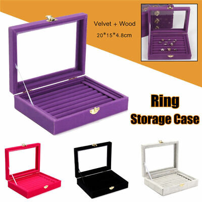 Velvet Glass Jewelry Ring Display Earring Storage Organizer Box Tray Holder USA