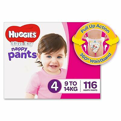 Huggies Ultra Dry Nappy Pants Girls Size 4 Toddler 9-14kg 116 Count Soft Stretch