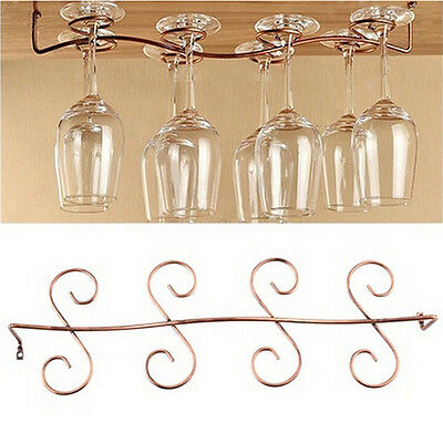 6/8 Wine Glass Rack Stemware Hanging Under Cabinet Holder Bar Kitchen Screw IO