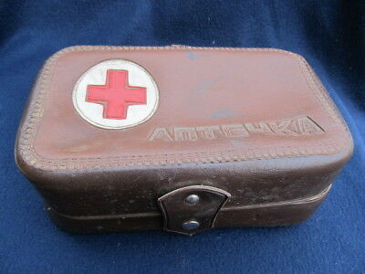 Old Vintage Leather First Aid Apothecary Box Bag For Car