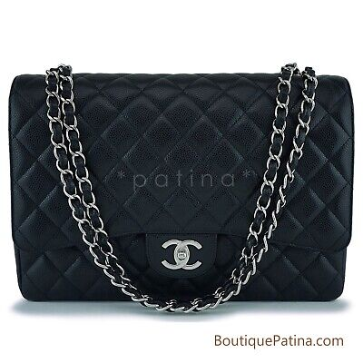 287a860b12ee NIB CHANEL XL Extra Large Silver Classic CC Crystal Strass Baguette ...