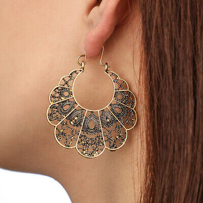 2PC Women Vintage Boho Tibetan Silver Carved Flower Bead Tassel Dangle Earring