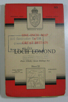 1958 Old OS Ordnance Survey Seventh Series One-Inch CLOTH Map 53 Loch Lomond
