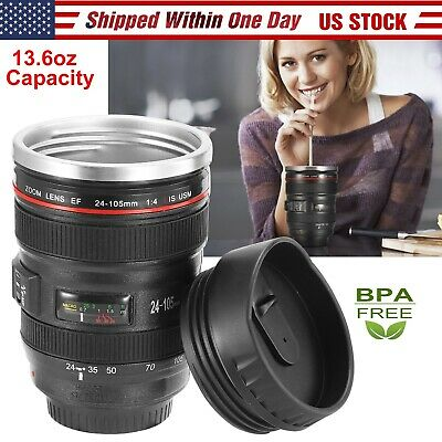 Camera Lens Cup 24-105 Coffee Travel Mug Stainless Steel, Leak-Proof Lid