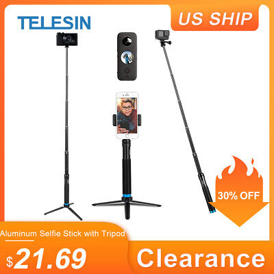 TELESIN Aluminium Selfie Stick Tripod with Phone Cilp for GoPro DJI Osmo Action