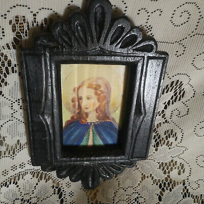Charming Antique Little Wood/ Glass Frame Watercolour/Print? -Mary/Angel-Carved