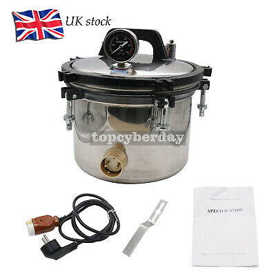12L High Pressure Steam Sterilizer Autoclave Anti-Burning Dual Heating 220V UK