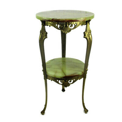 Ornate Brass Marble Two Tier Pedestal Plant Stand Side Table  Hollywood regency