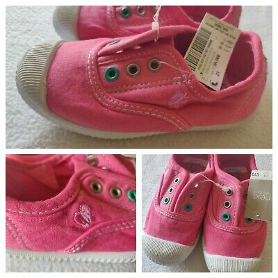 NEXT Girls Pink Canvas Shoes Summer Trainers Size 6 EU 23 BNWT