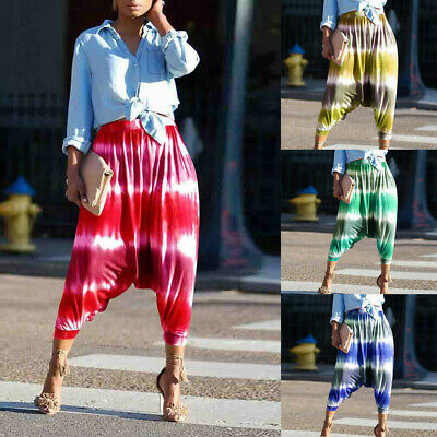 Women's Casual Striped Workout Mid Waist Printed Harem Pants Elastic Leggings