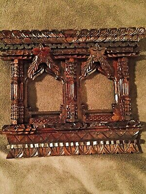 Beautiful Antique Hand carved Black Forest cathedral arched Lavishly Detailed Do