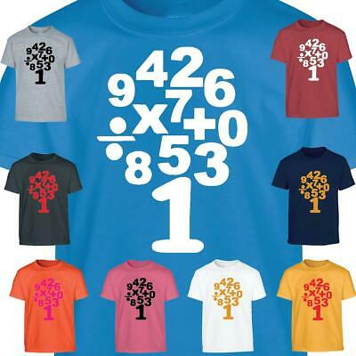 Kids Novelty T Shirt Top School Maths Numbers Calculations Mix Day Symbols Gift