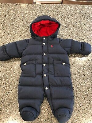 ac4163fb2 Ralph Lauren Polo Navy Blue Infant Hooded Down Puffer Snow Suit Sz 3 Month