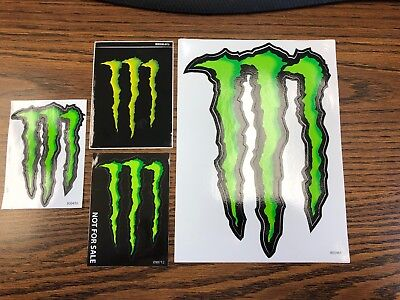 4 New Monster Energy Stickers, Green M-Claw, All Different