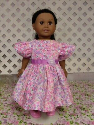 American Made Doll Clothes fit 18 inch Girl Doll Handmade Pink Floral Print