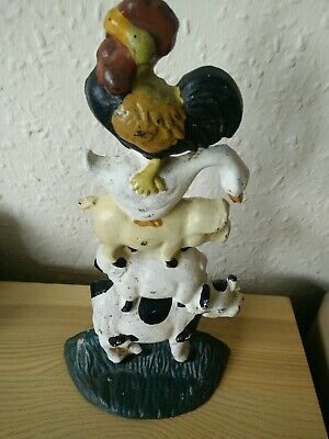 Vintage Stacked Cast Iron Farm Animals Doorstop ornament