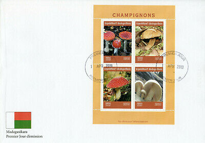 Madagascar 2019 FDC Mushrooms Fly Agaric 4v M/S Cover Champignons Fungi Stamps