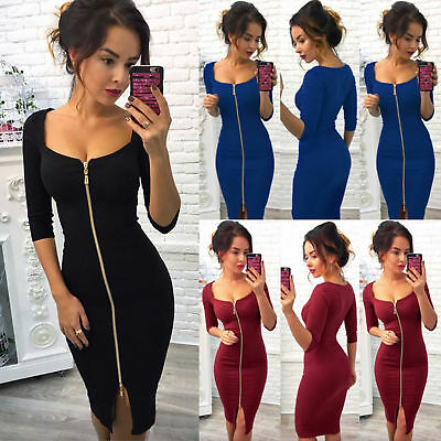 Women Bodycon Long Sleeve Midi Dress Zipper Party Cocktail Evening Pencil Dress