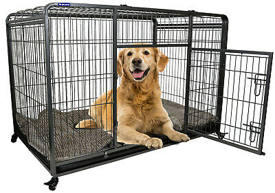 Premium Heavy Duty Dog Crate Cage with Nylon Wheels - Size Small to Extra Large