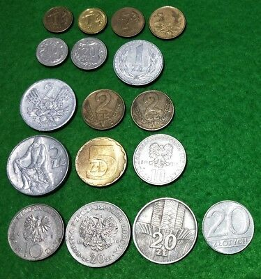 Poland 17 different coins Groszy & Zlotych