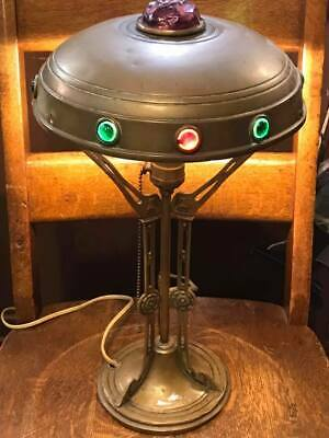 Antique Secessionist Jewelled Art Deco Table Lamp