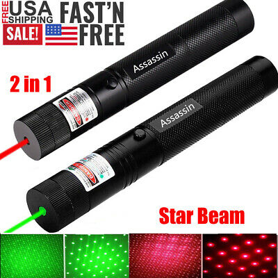 2PC 60 Miles Green & Red Laser Pointer Pen Star + Single Point Portable Lazer