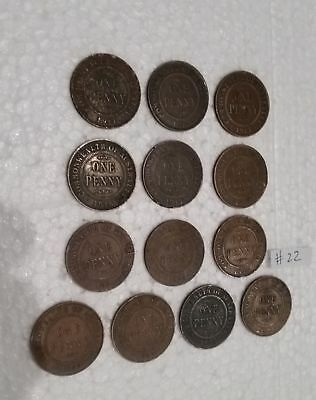Bulk lot 13 different KGV Australian Penny coins King George Fifth Pennies (#22)