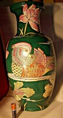 """Vintage tall Oriental Pottery Vase, incised and Painted Panels Height 36 cms 14"""""""