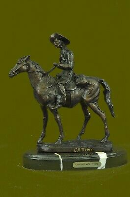 Hand Made WEST COWBOY WITH HORSE BRONZE SCULPTURE WESTERN Thomas FIGURINE DEAL