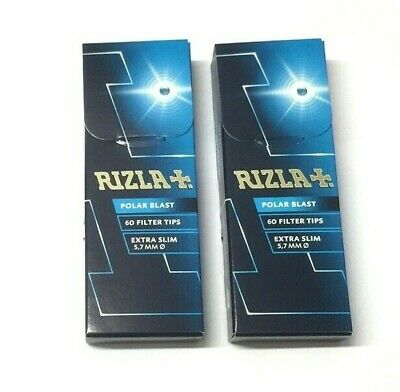 2 x RIZLA POLAR BLAST MINT FILTER TIPS CRUSHBALL CIGARETTE EXTRA SLIM 5.70mm