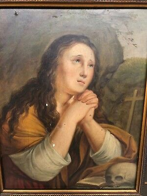 Antique Neo Gothic Religious painting of Mary Magdalene