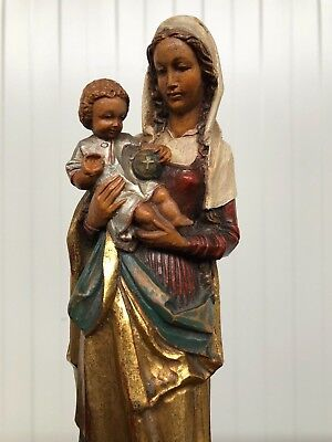 Stunning Italian Polychrome/ Gilt Anri Madonna / Virgin mary in wood