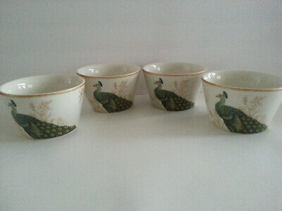 222 Fifth Peacock Garden Bowl Cereal Soup 5 1/ In Porcelain Set 4 Gold Round