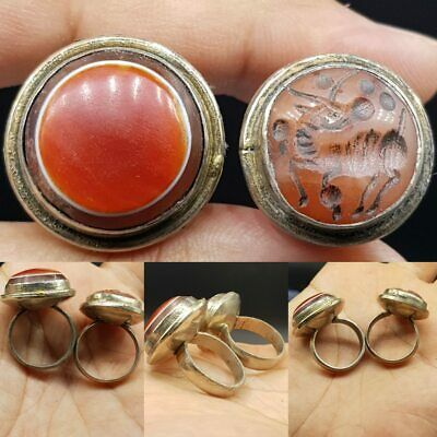 Wonderful 2 Agate intaglio Stone Lovely Old Rings  #10