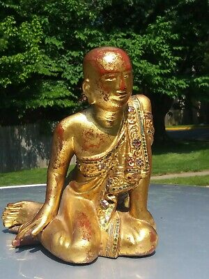 Vintage Thai gilt  & polychrome  hand carving  statue of seated Budihst Monk