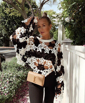 5611b642 Zara Ss 2019 Limited Edition Floral Crochet Sweater Black Ecru Size S M  3653/001