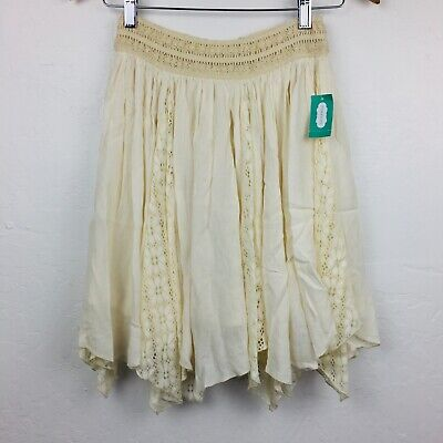 373849273 Maurices Women Skirt Lace Overlay Ivory Stretch Lined Lined Handkerchief  Summer