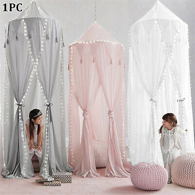 Bed Canopy Four-door Chiffon Tassel Round Dome Reject Baby Kid Mosquito Net